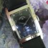 Lord Elgin 23 Jewel Vintage 14K White Gold Deco Wrist Watch, Black Face